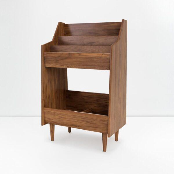 Premium Record Stand in Dark Wood
