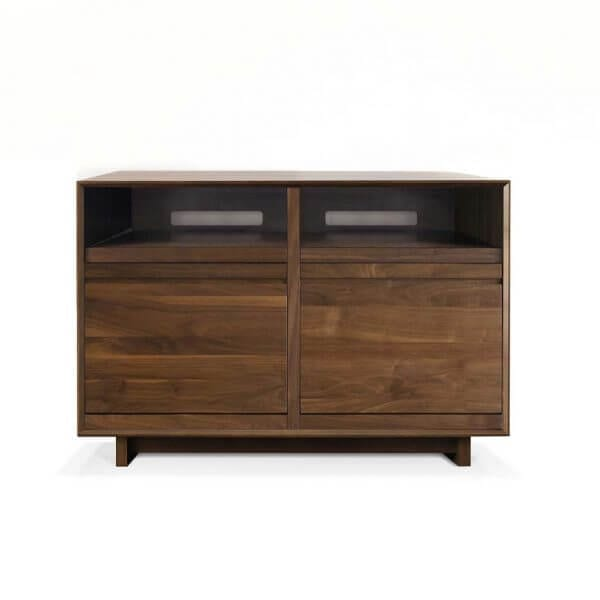 AERO 51 LP Media Storage Cabinet made from North American hardwood. Features 2 flip-style record storage bins with room for 120 LPs each. The top drawers have room for hi-fi audio equipment. It features a Walnut finish.