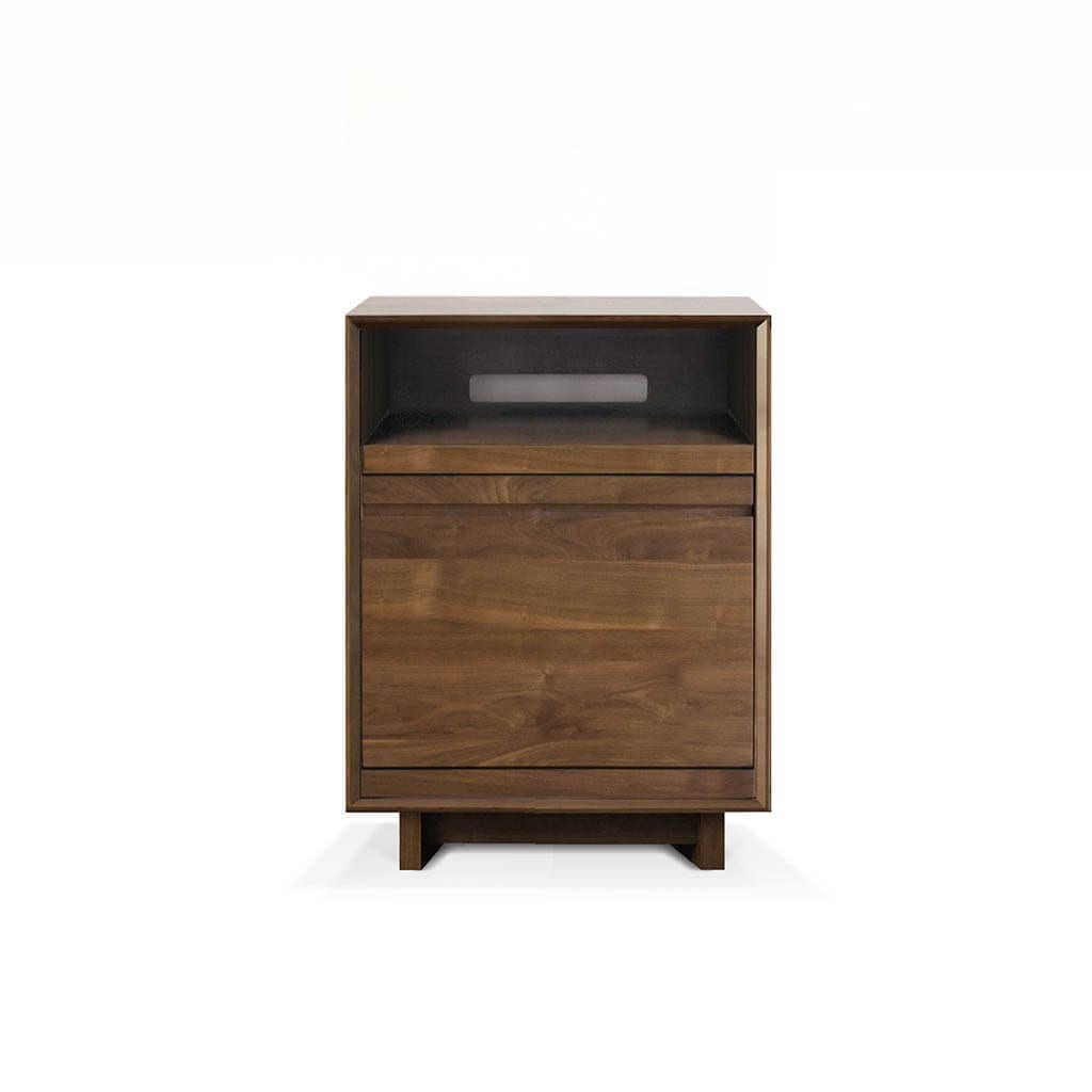 Aero 25.5 Media Stand with 1 storage shelf tailored for hi-fi audio equipment storage and accessibility. Includes one swivel style LP storage bin for easy and secure LP display and access. Features rich natural walnut finish on North American hardwood.