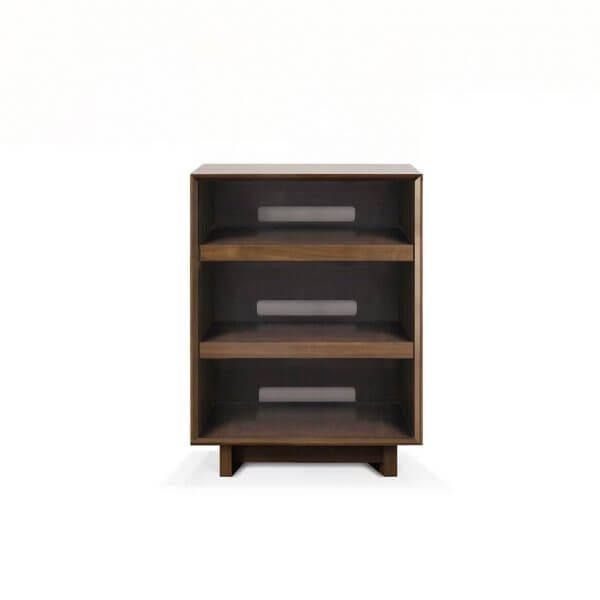 Aero 25.5 Audio Rack with 3 storage shelves tailored for hi-fi audio equipment storage and accessibility. Features rich natural walnut finish on North American hardwood.
