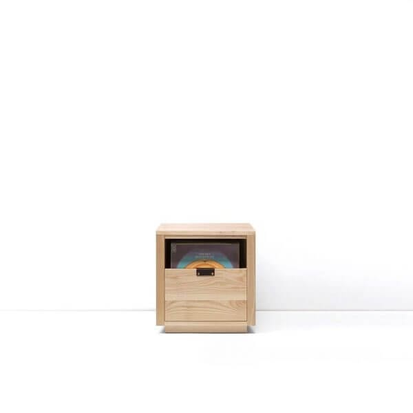 Dovetail Vinyl Storage Cabinet 1x1 displaying 90 records constructed with premium North American hardwoods. Includes light ash wood finish, soft-close under-mount drawers slides, and tanned leather handles.