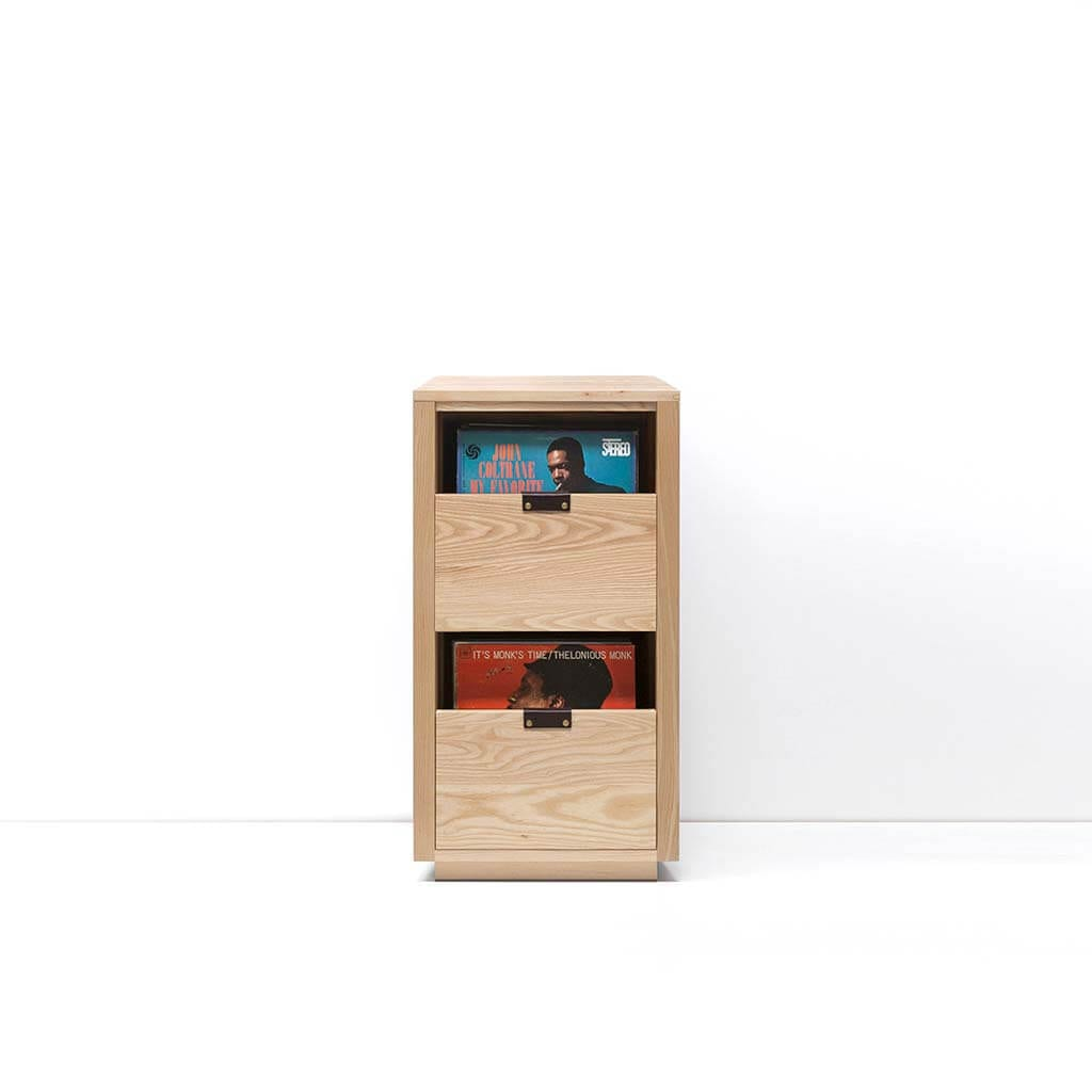 Dovetail Vinyl Storage Cabinet 1x2 displaying 180 records constructed with premium North American hardwoods. Includes light ash wood finish, soft-close under-mount drawers slides, and tanned leather handles.