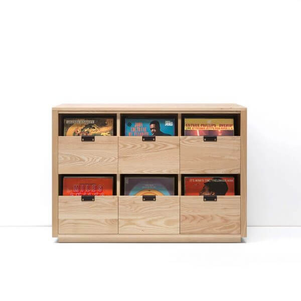 Dovetail Vinyl Storage Cabinet 3x2 displaying 540 records constructed with premium North American hardwoods. Includes light ash wood finish, soft-close under-mount drawers slides, and tanned leather handles.