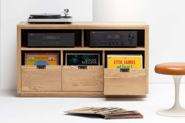 Dovetail Vinyl Storage Cabinet with Audio Equipment Shelf