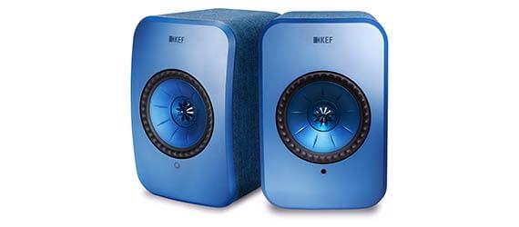Pair of KEF LSX power speakers in blue.