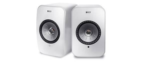 Pair of KEF LSX power speakers in gloss white.