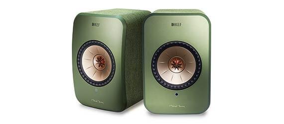 Pair of KEF LSX power speakers in green