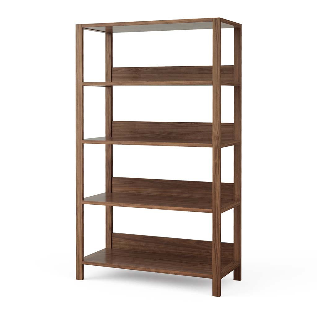 Modern Home Office Bookshelf in Solid Walnut