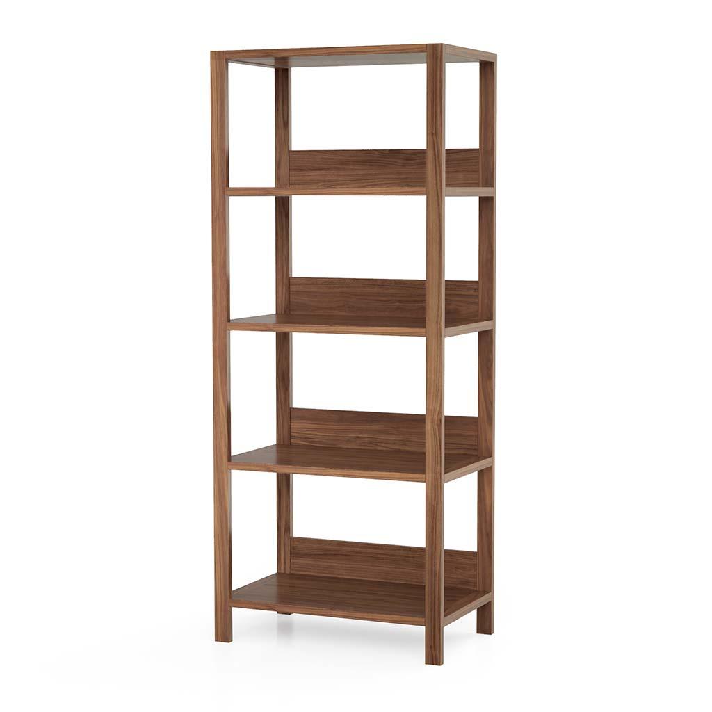 Modern Home Office Bookshelf Solid Walnut