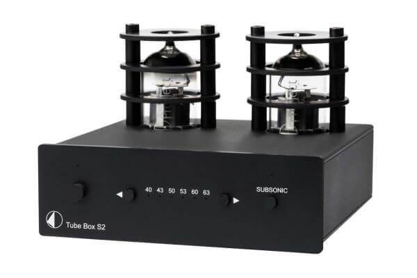 Pro-Ject Tube Box S2 black front phono pre-amplifier in sleek dual-mono design for superior channel separation. Includes adjustable gain impedance and capacitance control knobs across the front.